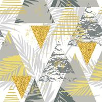 Modello esotico senza cuciture con foglie di palma su fondo geometrico
