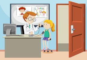 Una ragazza che fa il test della pressione sanguigna vettore