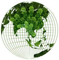 Tema ambientale con pianta sulla terra