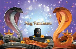 sfondo nag panchami con cobra reale e lingam vettore