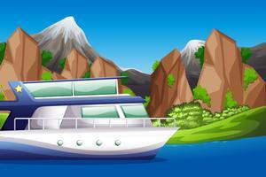 Barca sulla scena del lago vettore