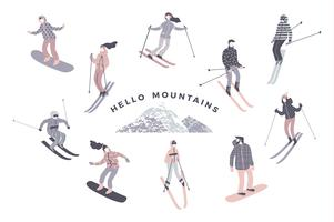 Illustrazione vettoriale di sciatori e snowboarder.
