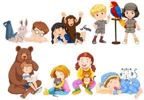 Bambini e molti tipi di animali domestici