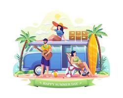 persone che si godono le vacanze durante l'illustrazione estiva vettore