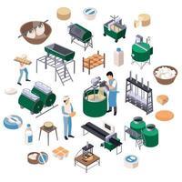 illustrazione vettoriale di composizione isometrica di produzione lattiero-casearia
