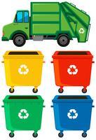 Bidoni della spazzatura e camion di colore diverso