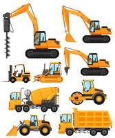 Diversi tipi di veicoli da costruzione vettore
