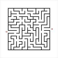 labirinto quadrato nero. un gioco interessante e utile per i bambini. puzzle per bambini con un'entrata e un'uscita. enigma del labirinto. semplice illustrazione vettoriale piatto isolato su sfondo bianco.