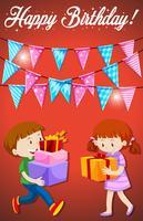 Buon compleanno con carta bambini vettore