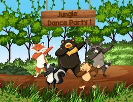 Animali selvaggi che ballano nella giungla