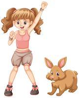 Ragazza carina con coniglietto marrone