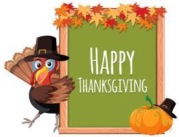 Ringraziamento Turchia a bordo bianco vettore