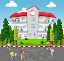 Bambini che giocano a Math Game a scuola