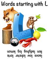 Poster educativo per parole che iniziano con L vettore