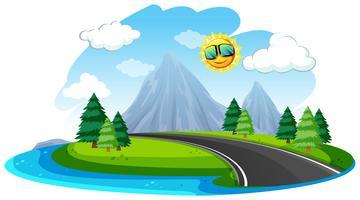 Bella strada natura isolata vettore