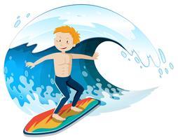 Un giovane surfista che saluta una grande onda vettore