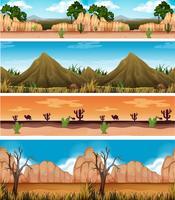 quattro diversi bellissimi paesaggi desertici vettore