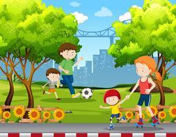 Persone che fanno attività nel parco