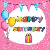 Modello di carta per il compleanno con sfondo rosa vettore