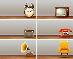 Una serie di modelli di mobili per la casa