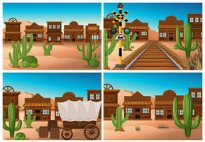 Set di città selvaggio west vettore