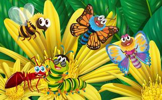 Diversi tipi di insetti sul fiore giallo vettore