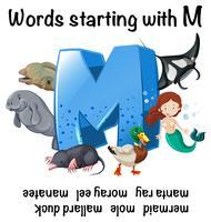 Foglio di lavoro inglese per parole che iniziano con M vettore