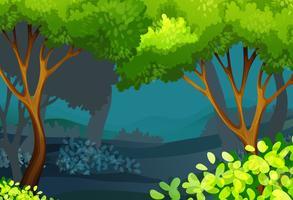 Scena della foresta con alberi e cespugli vettore
