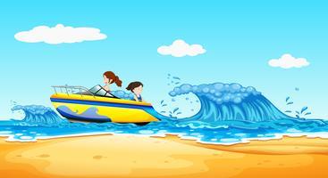 Ragazze che guidano barca all'oceano vettore