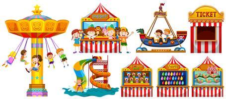 Bambini che giocano nel parco e molti giochi vettore