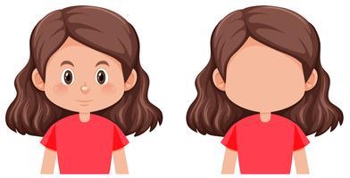 Un personaggio femminile capelli castani vettore