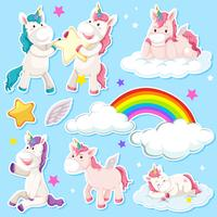 Set di adesivo unicorno vettore