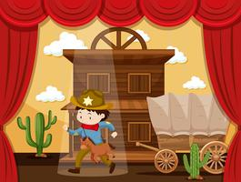 Ragazzo che gioca a cowboy sul palco vettore