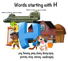Foglio di lavoro inglese per parole che iniziano con H vettore