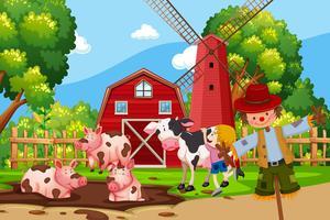 Scena di fattoria con animali vettore