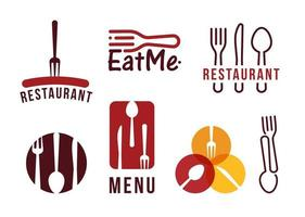 set logo vettoriale ristorante, forchetta, coltello e cucchiaio, salsiccia barbecue