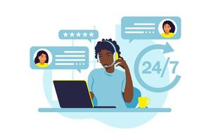 concetto di servizio clienti. supporto, assistenza, call center. vettore