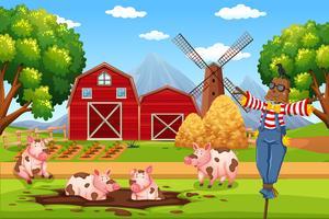 Casa del granaio nel paesaggio rurale