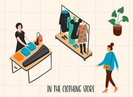 Negozio di vestiti. Illustrazione di Vectpr con personaggi.