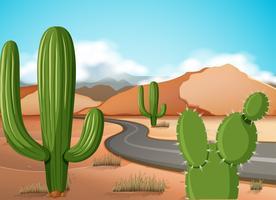 Scena con strada vuota nel deserto vettore