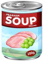 Lattina di zuppa di piselli e prosciutto