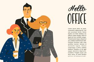 Ciao ufficio. Illustrazione di Vectior con impiegati.