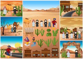 Scene del deserto con persone e edifici