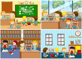 Un insieme di bambini che imparano Abaco