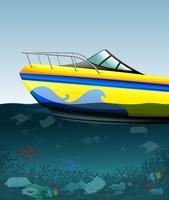 Motoscafo sull'oceano inquinato vettore
