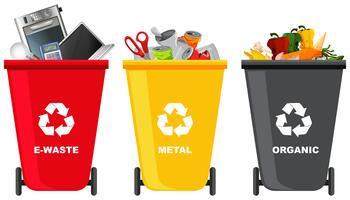Set di diversi bidone della spazzatura vettore