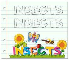 Tracciare foglio di lavoro per insetti parola vettore