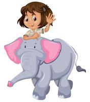 Un guardiano dello zoo che cavalca un elefante