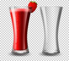 Set di bicchiere da cocktail alla fragola vettore