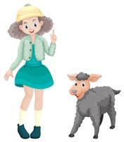 Ragazza carina e piccolo agnello vettore